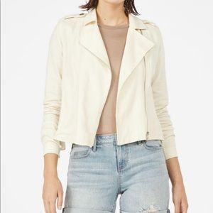 JustFab Bone White Linen Moto Jacket